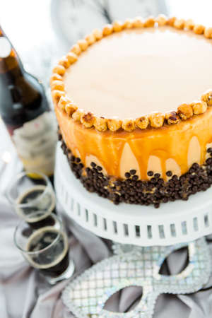 pastrie: Chocolate beer and wine pairings. Heavenly Hazelnut Torte with beer for celebrating New Year.
