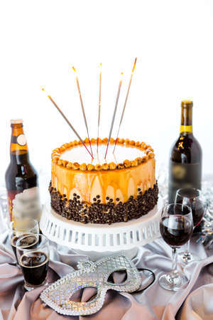 pastrie: Chocolate beer and wine pairings. Heavenly Hazelnut Torte with beer and wine for celebrating New Year.