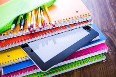 school year: New school supplies ready for new school year.