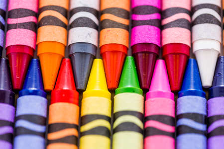 crayons: Multicolored crayons on a white background. Stock Photo