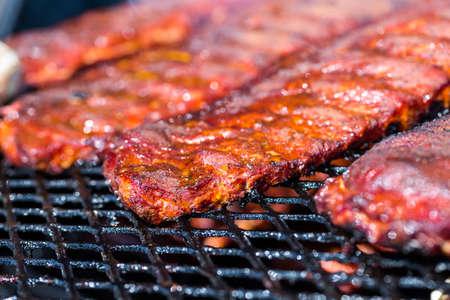 Baby back ribs prepared in smoker. 免版税图像 - 31180134