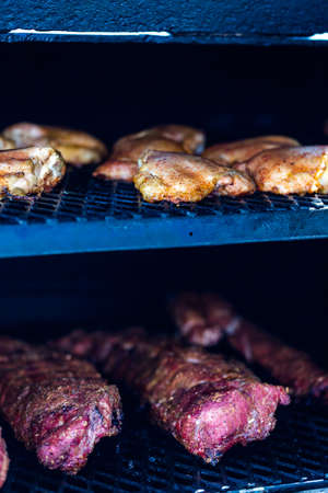 Meat prepared in barbecue smoker for competition. photo