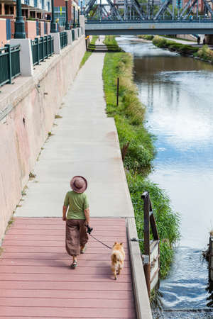 typical: Cherry Creek trail on typical summer wekeend. Stock Photo