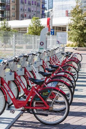 Denver, Colorado, USA-August 31, 2014. Row of red rental bikes in downtown Denver, Colorado. Editorial