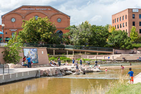 south platte river: Denver, Colorado, USA-August 31, 2014. Typical summer weekend at Confluence Park in downtown Denver, Colorado.