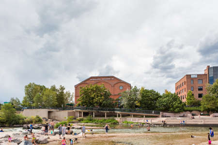 Denver, Colorado, USA-August 31, 2014. Typical summer weekend at Confluence Park in downtown Denver, Colorado.