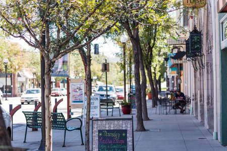 Main street of historic downtown Littleton, Colorado.