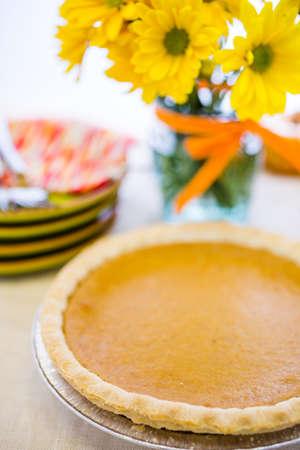 Freshly baked pumpkin pie photo