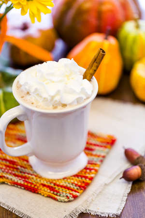 spice: Pumpkin spice latter with whipped cream and cinnamon stick