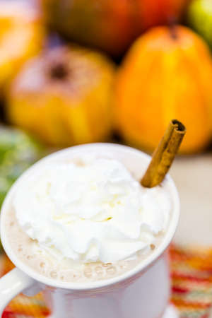 Pumpkin spice latter with whipped cream and cinnamon stick photo