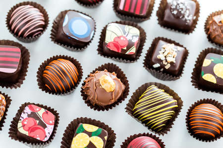 almighty: Delicious gourmet chocolate truffles hand made by professional chocolatier. Stock Photo