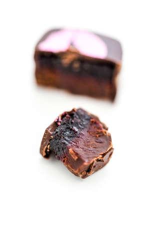 cabernet: Gourmet blackberry cabernet truffle on a white background. Stock Photo