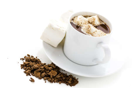 sipping: Sipping chocolate in white cup with marshmallows. Stock Photo