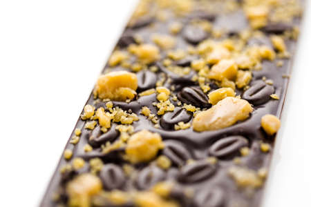 Gourmet coffee toffee chocolate bar on a white background.