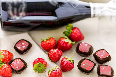 champagne truffles chocolate: Gourmet Strawberries and champaigne chocolate truffles. Stock Photo