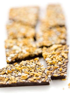 グルメ ココナッツ ブリス チョコレート バー白い背景の上。 写真素材 - 31706101