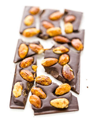 almighty: Gourmet almighty almond chocolate bar on a white background.