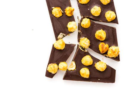 Gourmet heavenly hazelnut chocolate bar on a white background.