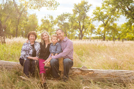 colorado mountains: Lovely family enjoying weekend in open space park in early Autumn.