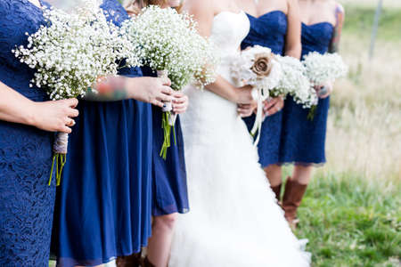 high priced: Small outdoor wedding in white and blue theme. Stock Photo