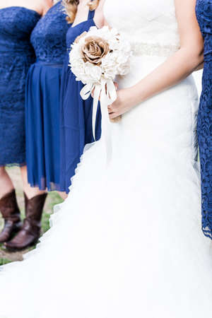 Small outdoor wedding in white and blue theme. Stock Photo