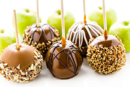 apple tart: Hand dipped caramel apples decorated for Halloween. Stock Photo