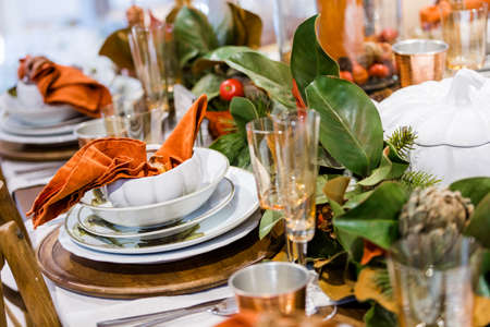 Elegant table prepared for Thanksgiving dinner with family and friends. Stock Photo