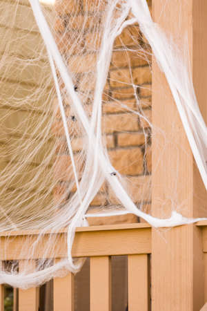 living unit: Residential house decorated for Halloween holiday.