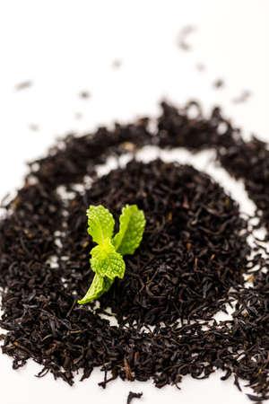Chocolate mint tea on a white background. Stok Fotoğraf