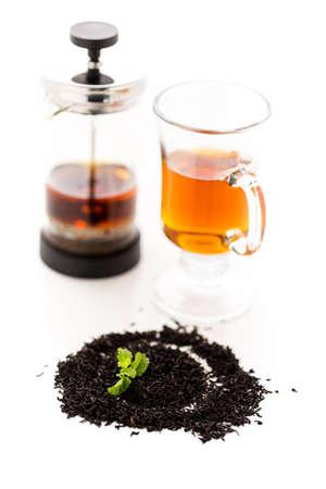 chocolate mint: Chocolate mint tea on a white background. Stock Photo