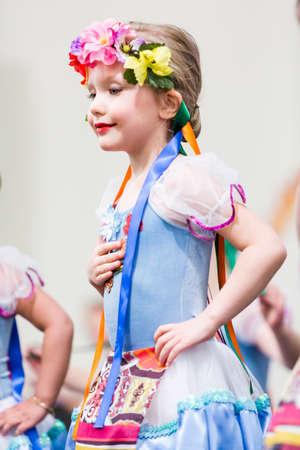Kids dancing tradition Russian folk dances.
