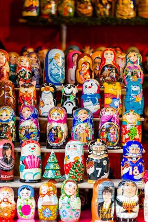 russian nested dolls: Denver, Colorado, USA-November 21, 2014. Christmas ornaments for sale at the Christmas Market.