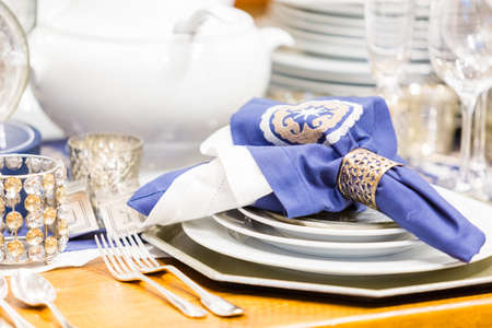 jewish home: Table set holiday dinnner with family. Stock Photo