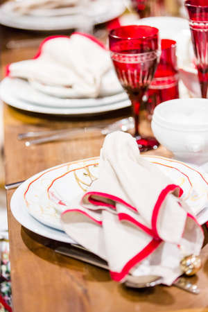 christmas in denver: Table set holiday dinnner with family. Stock Photo