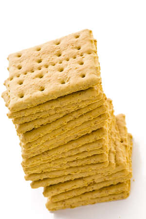 graham: Stack of graham crackers on a white background.