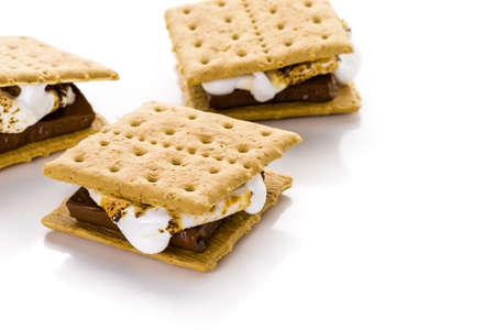 Freshly toasted smores with large white marshmallows. Stock Photo