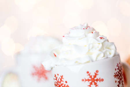 peppermint cream: Hot chocolate garnished with whipped cream and crashed peppermint candies.