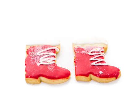 baked treat: Variety of colorful Christmas cookies on a white background.