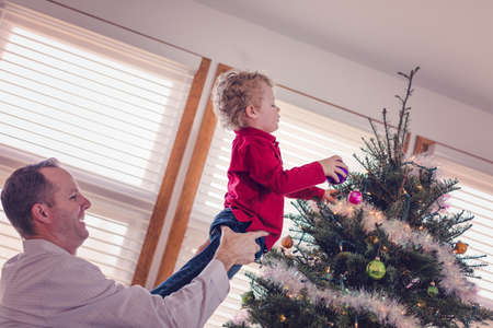 40 year old man: Family decorating beautiful live Christmas tree.