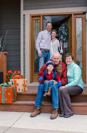 70 74 years: Multi deneration family posing for family photo. Stock Photo