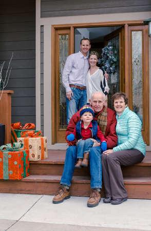 70 74 years: Multi deneration family posing for family photo. Stock Photo