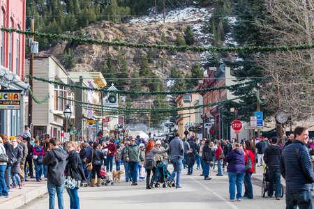 main street: Georgetown, Colorado, USA-December 6, 2014. Annual Christmas market on the Main Street.