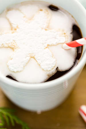 Homemade hot chocolate garnished with snowflake shaped white marshmallows. Imagens