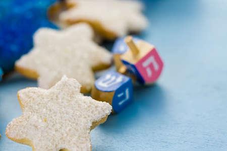 dreidel bears: Hanukkah white and blue stars hand frosted sugar cookies,