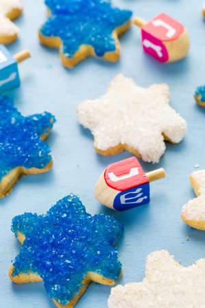 Hanukkah white and blue stars hand frosted sugar cookies, photo