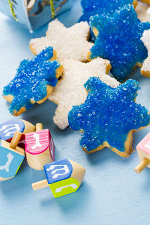hebrew alphabet: Hanukkah white and blue stars hand frosted sugar cookies,
