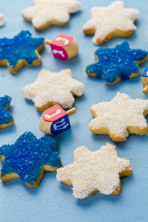 stelle blu: Hanukkah stelle bianche e blu della mano biscotti di zucchero glassato,