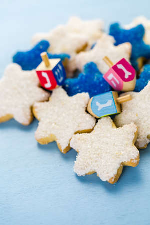 Hanukkah white and blue stars hand frosted sugar cookies,