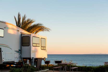 Winter RV camping on cost of California. Stockfoto