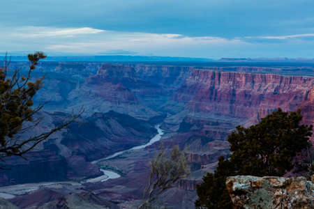 south rim: View of grand Canyon from South Rim in the Winter. Stock Photo